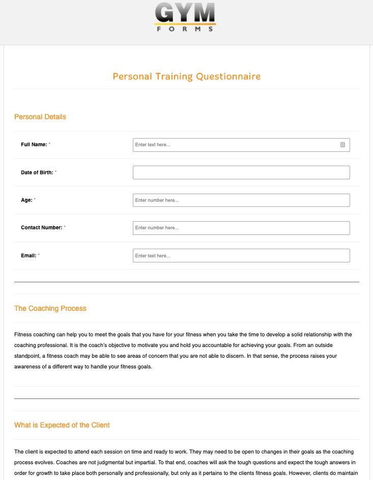 Personal Training Consultation Form