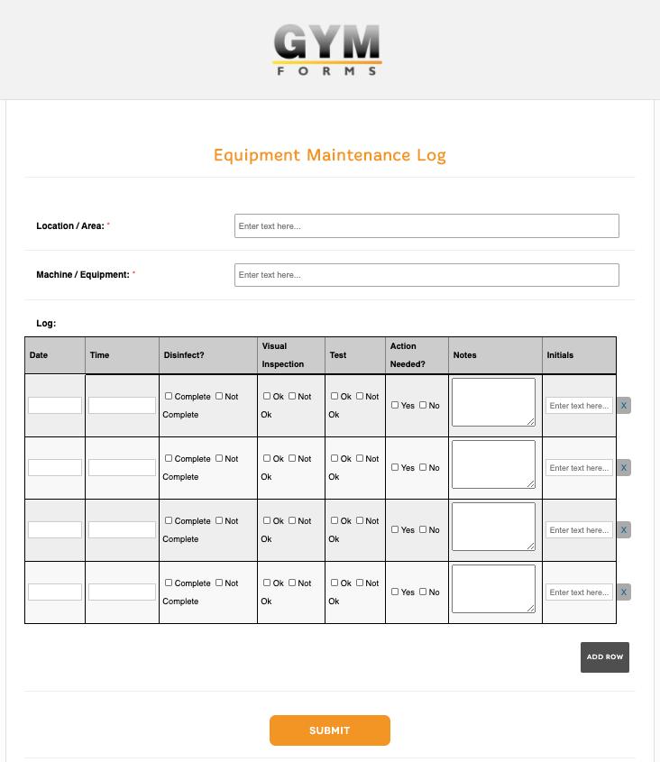 Equipment Maintenance Form