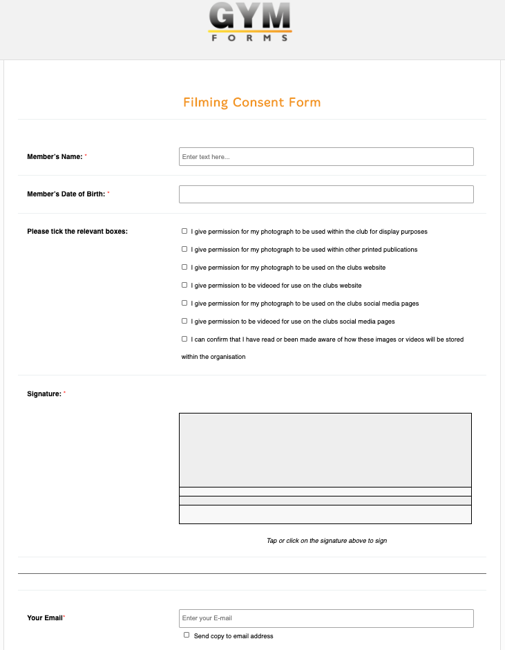 Filming Consent Form
