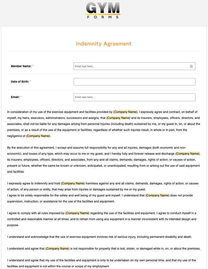 Indemnity Agreement Form