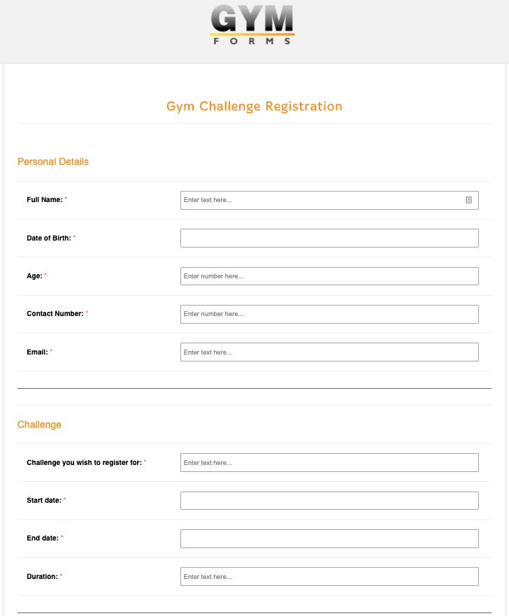 Gym Challenge Registration